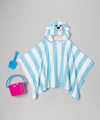 Blue Stripe Puppy Poncho Cover-Up Set
