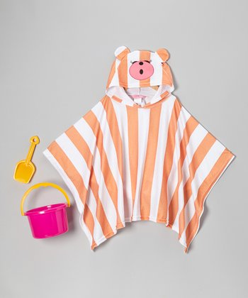 Orange Stripe Bear Poncho Cover-Up Set