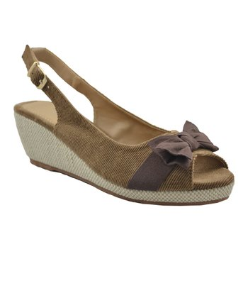 Beige Peep-Toe Slingback Wedge