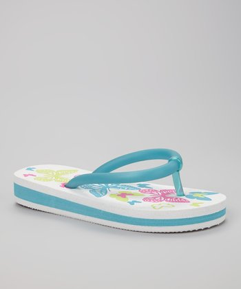 Chatties White & Blue Butterfly Light-Up Flip-Flop
