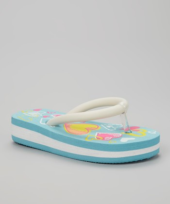 Chatties Turquoise & White Heart Light-Up Flip-Flop