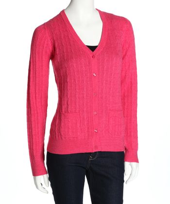 Raspberry Biella Cable-Knit Wool Cardigan