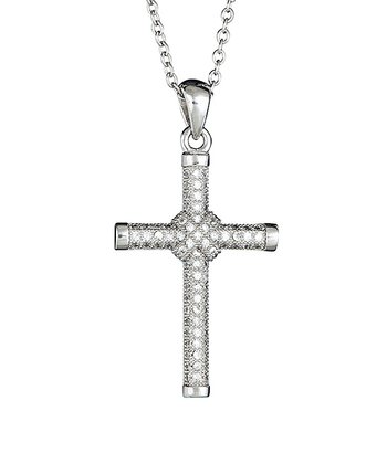 Sparkle & Sterling Silver Cross Pendant Necklace