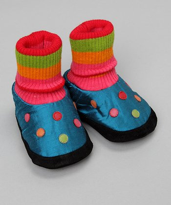 Blue & Pink Dot Slipper