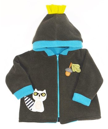 Forest Green & Blue Raccoon Hooded Jacket - Toddler & Boys