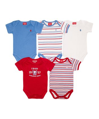 Red & Blue Bodysuit Set - Infant