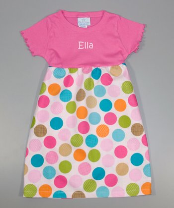 Raspberry Polka Dot Personalized A-Line Dress - Toddler & Girls