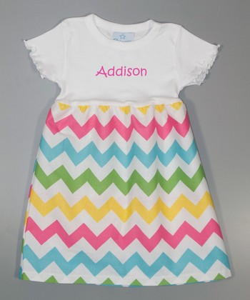 White Zigzag Personalized A-Line Dress - Toddler & Girls