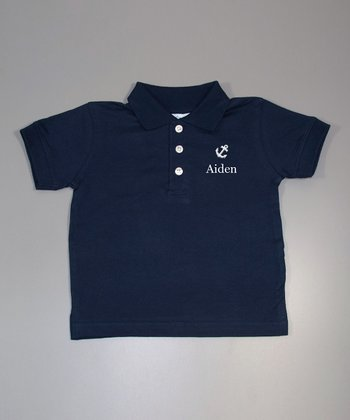 Navy Anchor Personalized Polo - Toddler & Boys