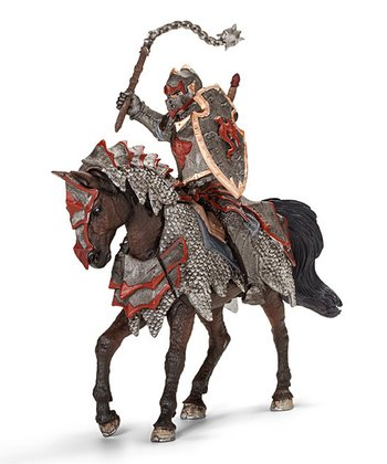 Dragon Knight with Flail & Horse Figurine Set