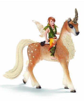 Male Elf & Forest Unicorn Figurine Set