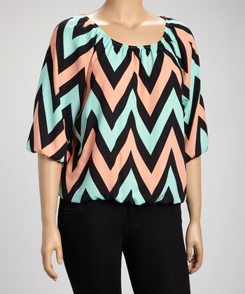 Black & Coral Zigzag Three-Quarter Sleeve Top - Plus