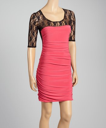 Black & Fuschia Lace Dress - Women