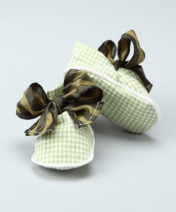 Green Gingham Bow Booties - Infant