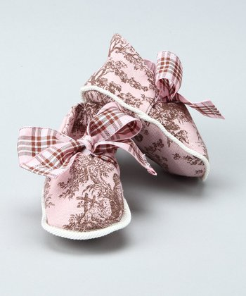 Light Pink Bow Booties - Infant