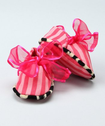 Candy Pink Bow Booties - Infant