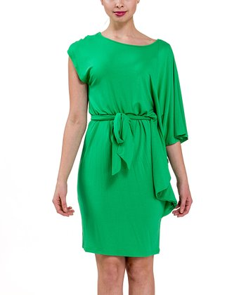 Kelly Green Tie-Waist Dress
