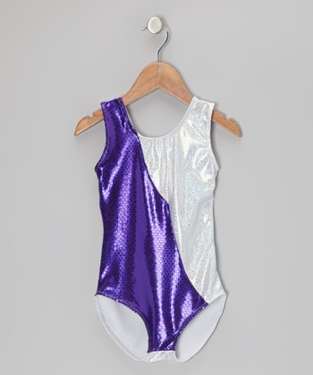 Purple & Silver Premier Angle Leotard - Girls