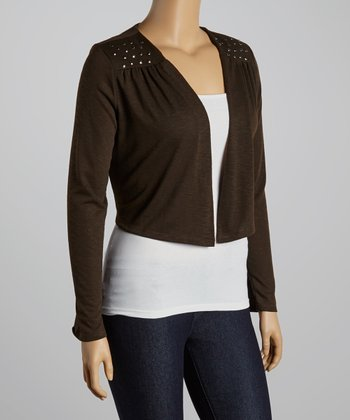 Brown Stud Accents Cropped Open Cardigan - Plus
