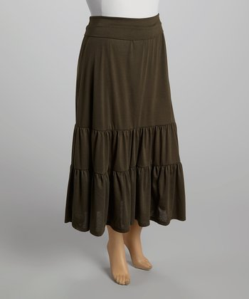 Dark Olive Maxi Skirt - Plus