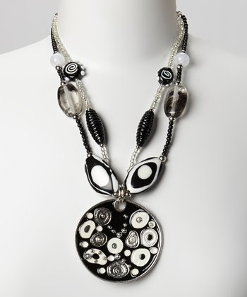 Black & White Abstract Bead Pendant Necklace