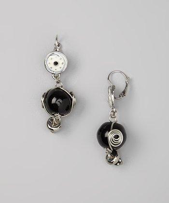 Silver & Black Abstract Bead Drop Earrings