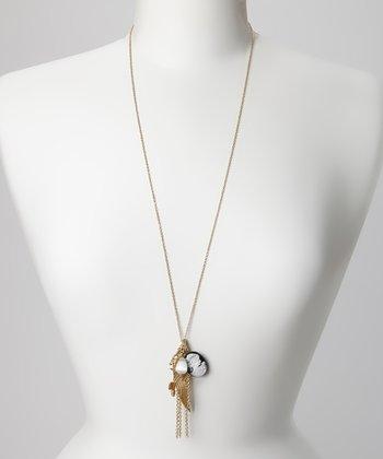 Black & Gold Cameo Pendant Necklace