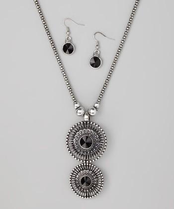 Jet Medallion Pendant Necklace & Drop Earrings