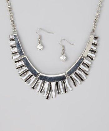 Black & White Bib Necklace & Drop Earrings