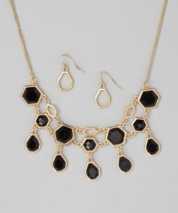 Matte Gold & Jet Necklace & Drop Earrings