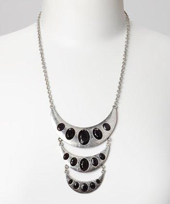 Silver & Black Crescent Bib Necklace