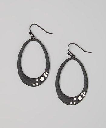 Matte Black Sparkle Cutout Drop Earrings