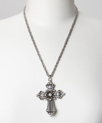 Antique Silver & Black Cross Pendant Necklace