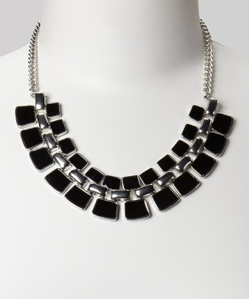 Silver & Black Faceted Bib Necklace