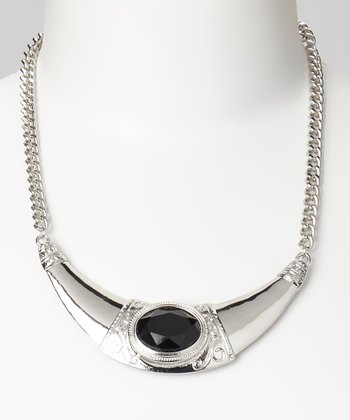 Silver & Black Crescent Necklace