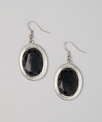 Silver & Black Oval Drop Earrings