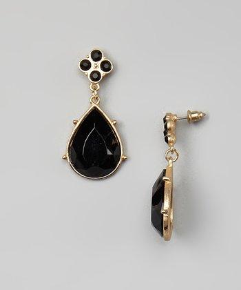Matte Gold & Jet Faceted Drop Earrings