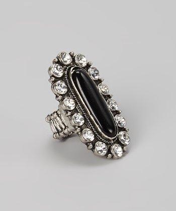 Black Sparkle Oval Stretch Ring