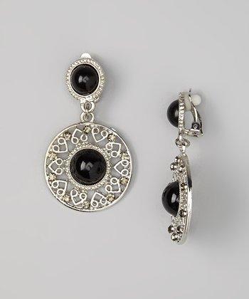 Silver & Black Medallion Drop Earrings