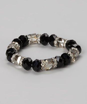 Jet & Clear Faceted Bead Stretch Bracelet