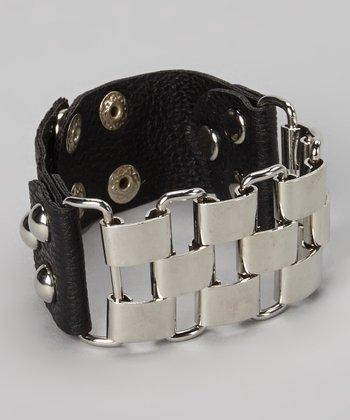 Silver & Black Link Snap Bracelet