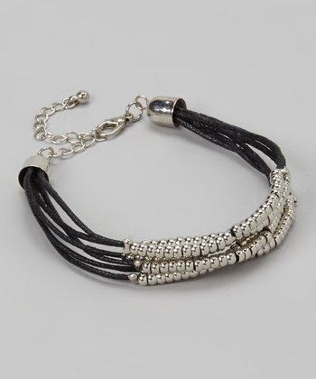 Silver & Black Bead Cord Bracelet