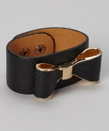 Silver & Black Bow Snap Bracelet