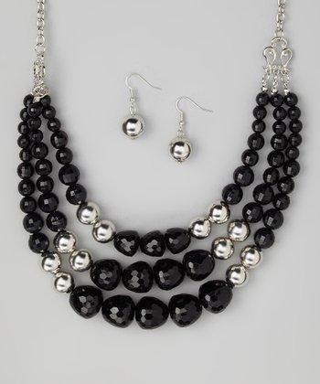 Silver & Black Bead Bib Necklace & Drop Earrings