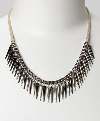 Silver & Black Spike Bib Necklace