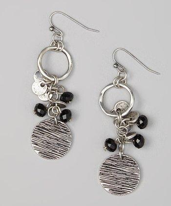 Silver & Jet Disc Drop Earrings