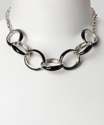 Silver & Black Ring Necklace