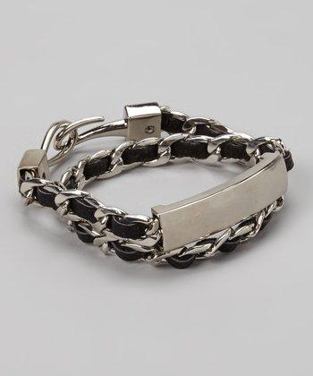 Silver & Black Leather Chain Wrap Bracelet