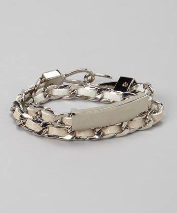 Silver & White Leather Chain Wrap Bracelet