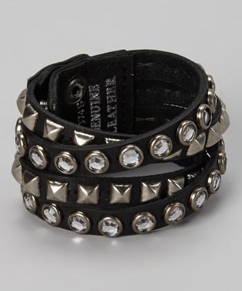 Silver & Black Leather Sparkle Studded Bracelet